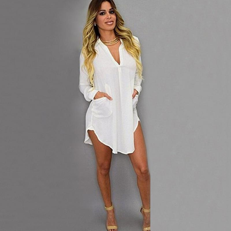 Fashion Women Tops New 2018 Women Summer Chiffon Blouse V-Neck Irregular Long Sleeve Shirts Ladies White Blouse MLD739-noashe