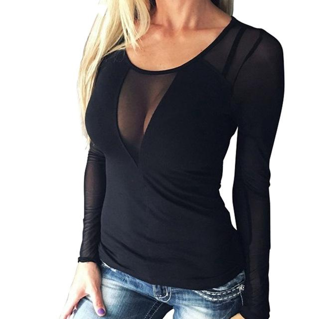 2018 Women Sexy Splice Long Sleeve Tops Mesh Blouse Casual Mesh Top Blouses Solid Slim View Through Ladies Shirt Pullover-noashe