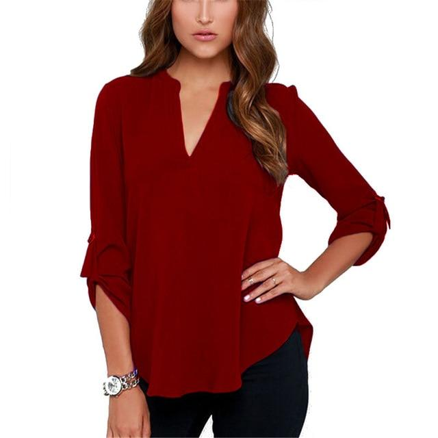 ZZSYKD Chiffon Shirt Office Women Blouse Elegant Long Sleeve Summer Womens Tops And Blouses Fashion Ladies Clothing Plus Size-noashe