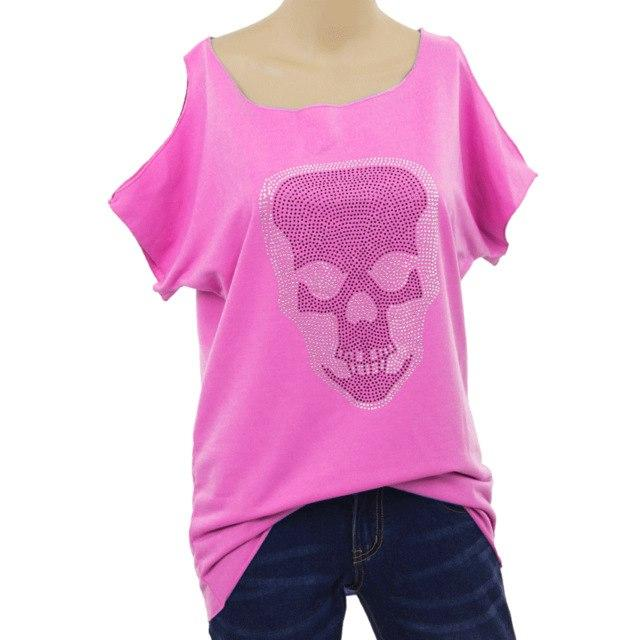 Summer Off The Shoulder Sexy Blouse Shirt Print Skull Gothic Fashion Tops Tee 2018 Women Blouses & Shirts WS7081Z-noashe