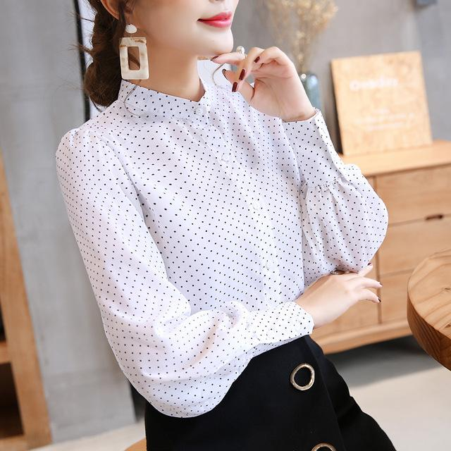new arrived 2018 spring blouse women white shirt female long sleeve Chiffon Blouse office lady fashion tops D469 30-noashe