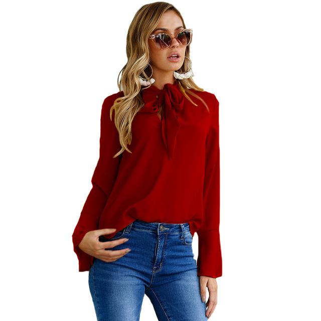 ZZSYKD Women Chiffon Blouses Summer Long Flare Sleeve Shirt Casual Loose Tops 2018 Fashion Formal Blouses Office Women Blouse-noashe