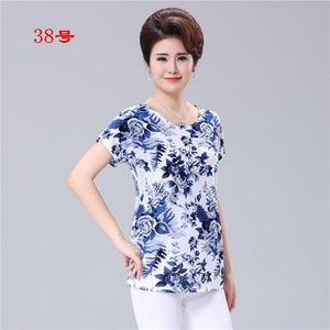 XL-5XL 2018 Summer style casual blouses flor clothing plus size short sleeve floral blusas shirt women tops Russia 56-noashe