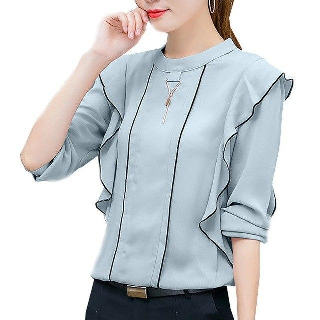 Elegant Ruffles Blouse Shirt Women Tops 2018 Long Sleeve Chiffon Blouse Casual New Spring Orange Blue Blusas Chemise Femme-noashe