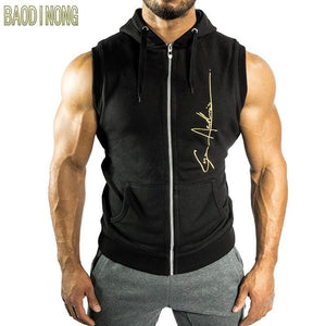Men Fitness bodybuilding Sleeveless hoodie Sweatshirt male gyms cotton Hooded vest Casual fashion Brand Sportswear clothing-noashe