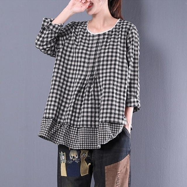 2018 Spring Women Long Sleeve Plaid Check Fake Two Pieces Baggy Blouse Lace Crochet Cotton Linen Ruffles Shirt Oversized Top-noashe