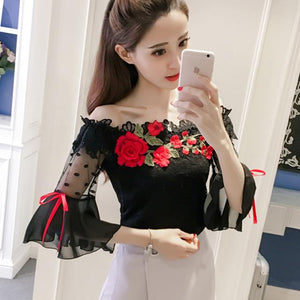 blouse fashion 2018 Summer women shirt flower Embroidery flare sleeve lace women's cloting sexy black women tops blusas 6811 30-noashe