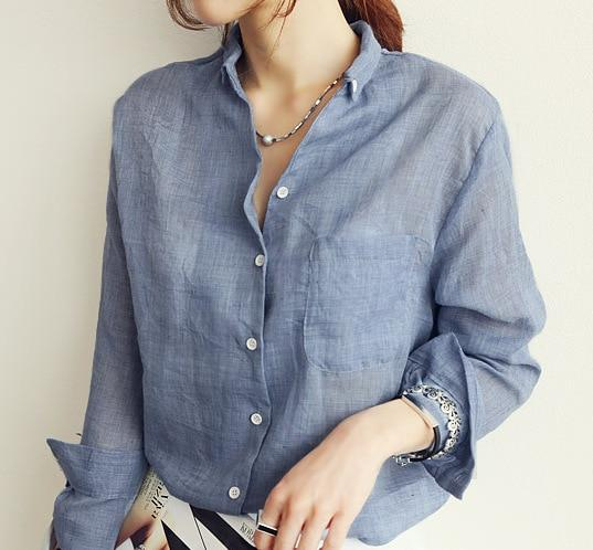 spring women Korean chic casual solid color long sleeve blouse white grey blue cotton linen shirts female loose work shirt tops-noashe