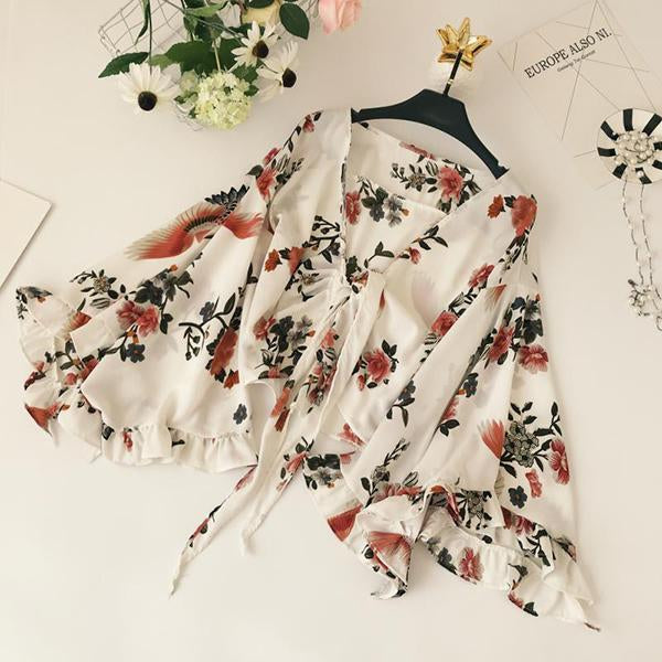 elegant ladies flowers printing smock cardigan summer women lace up bow tie v neck ruffles bell sleeve female blouse shirt top-noashe