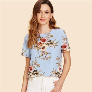 SHEIN Blue Elegant Round Neck Short Sleeve Floral Print Button Regular Fit Blouse Summer Women Weekend Casual Shirt Top-noashe