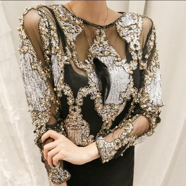 Brand famous 2018 women crystal Blouses sexy lace beads autumn winter top and shirts blusa femme camisa wholesale-noashe