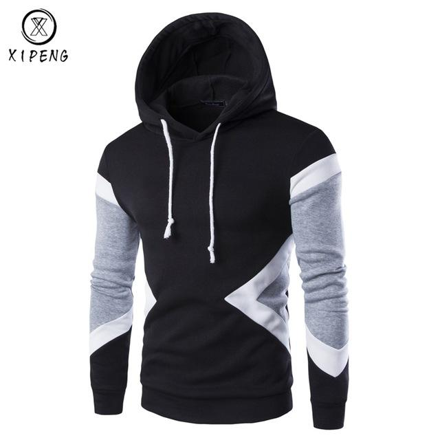 Mens Hoodies 2018 New Autumn Mens Pullovers Leisure Patchwork Colors Fashion Sweatshirts Hooded Coats Hoodies Sweat Homme 9237-noashe