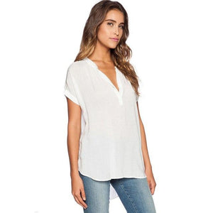 Asymmetric Solid Women Blouses Short Sleeves Irregular OL Office Blusas Plus Size Sexy Loose Elegant Summer Shirts Female **-noashe