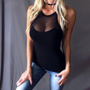 4XL 5XL Sexy Women Casual Mesh Black Lovely Lady Summer V Neck Sleeveless Fashion Blouse Plus Size Women Tops-noashe