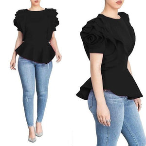 2018 Women Fashion Summer O-Neck Ruffles Sleeve Asymmetric Hem Slim Tops Blouse-noashe