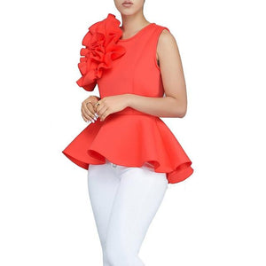 2018 Women Fashion Summer O-Neck Sleeveless Ruffles Flouncing Asymmetric Hem Slim Tops Blouse-noashe