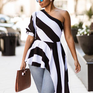 2018 Women Fashion Summer Stripe Slash Neck One Shoulder Puff Sleeve Asymmetric Hem Slim Tops Blouse-noashe