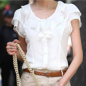 2018 New Fashion Women Ruffles Short Sleeve Shirt Chiffon Blouses Tops Female Office Ladies Black White Plus Size Xxxl Xxxxl 5xl-noashe
