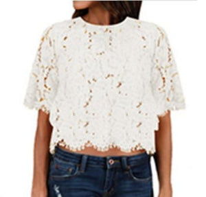 2018 Women Sweet Lace Tassel Crop Tops Short Sleeve Vintage Casual O-neck Fringe Blouse Ladies Fashion Streetwear Shirts Blusas-noashe