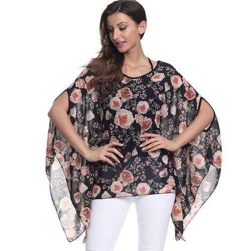4XL 5XL 6XL Plus Size Women Clothing Chiffon Tops Floral Printing Batwing Sleeve Women Blouse Shirt Casual Summer Blouses 2018