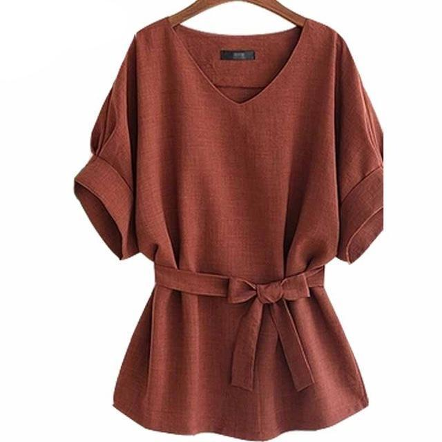 Summer Tops and blouses Plus Size 5Xl Women Blouse shirt Casual Ladies cotton linen womens Shirts Loose Blusas Camisa Mujer-noashe