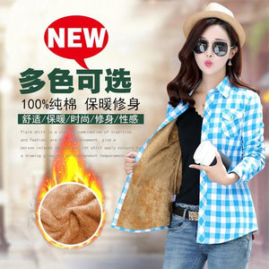 2018 New Autumn Winter Women Plaid Shirt 100% Full Cotton Plus Size Cashmere Thick Warm Shirts Long Sleeve Blouse Fashion Tops-noashe
