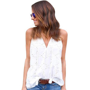 CHAMSGEND Women Fashion Pullover Solid Sleeveless Casual Blouse high waisted shorts Loose Necks Drop Shipping 1M19-noashe