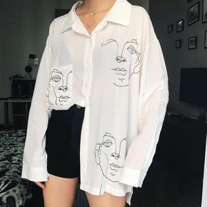 Women's Tops and Blouses Cotton White Shirt Line Face Print Retro Shirts with Long Sleeve White Blouse Lady Spring Summer-noashe