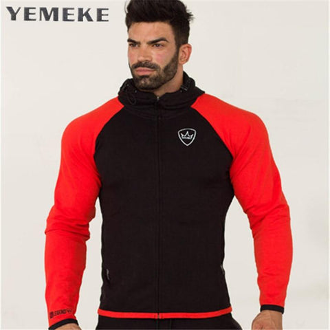 YEMEKE 2018 New Gyms Fashion Men Hoodies Brand High Quality Men Sweatshirt Hoodie Casual Zipper Hooded Jackets