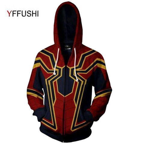 YFFUSHI 2018 New 3D Zipper Jacket Men hoodies Fashion Spidermen 3d print Zipper Hoodies Men Cospaly Sweatshirt Plus Size 5XL-noashe