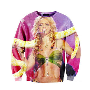 Cloudstyle 2018 Britney spears with Python Funny Sweatshirts Tops Jumper 3D Casual Sweats Fashion Clothing Plus Size S-5XL-noashe