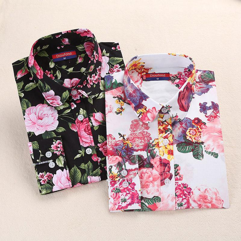 2018 Summer Women Shirts Floral Cotton Linen Blouse Long Sleeve Shirt Women's Blouses White Navy Blusas Plus Size Dioufond-noashe