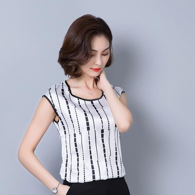 2018 summer sleeveless chiffon women blouse shirt geometric striped women's clothing plus size 5XL women's tops blusas D733 30-noashe
