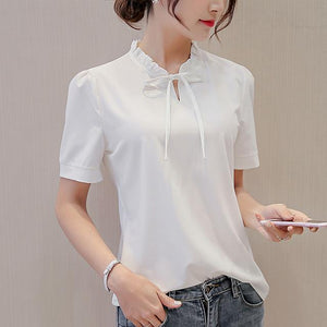 3XL Blue White Pink Blouse New Summer Female Tops Plus Size Shirts Casual Top Fashion Slim Short Sleeve Chiffon Shirt Blusas-noashe