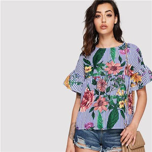 SHEIN Blue Vacation Bohemian Beach Floral Print Striped Round Neck Flounce Sleeve Ruffle Blouse Summer Women Casual Shirt Top-noashe