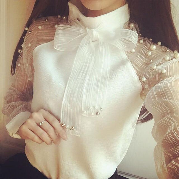 2018 New Summer elegant organza bow of pearl white blouse casual chiffon shirt long sleeve women blouses tops blusas femininas