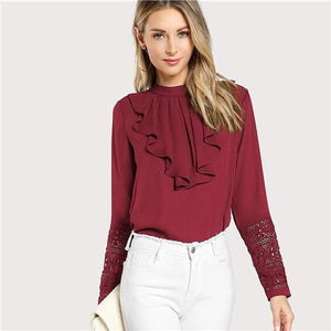 SHEIN Burgundy Elegant Ruffle Pleated Contrast Lace Button Stand Collar Long Sleeve Blouse Summer Women Workwear Shirt Top-noashe