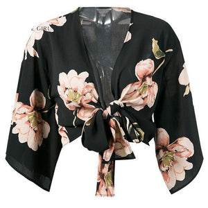 Lily Rosie Girl Deep V Neck Boho Floral Print Short Blouse Women Autumn Winter Bow Crop Tops Sexy Party Shirts Cotton Blusas-noashe