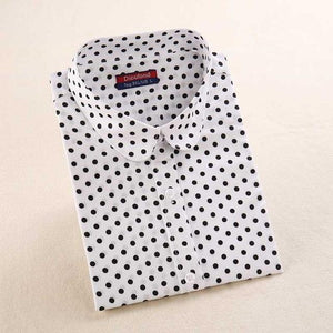 Dioufond Women's Polka Dot Cotton Blouse Shirt Long Sleeve Casual Turn-down Collar 2018 New Tops Plus Size S-5XL-noashe