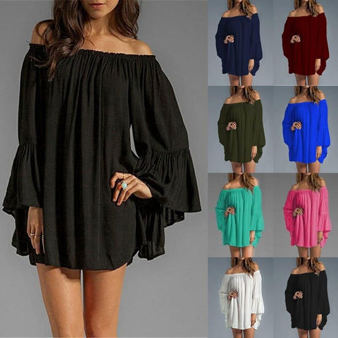 ZANZEA Women Sexy Off Shoulder 2018 Summer Blouse Long Top  Flare Sleeve Casual Loose Mini Short Vestidos Plus Size S-3XL
