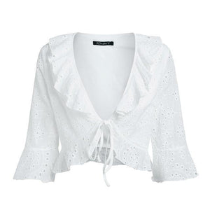 Simplee Chic v neck print chiffon blouse shirt women Ruffle tie up summer blouse Sweet crop top flare sleeve sexy blouse 2018-noashe