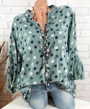 Spring Summer Shirts Women Casual Adjustable Long Sleeve Polka Dot Print Stand Collar Pockets Button Blouses Tops Size 5XL 2018-noashe