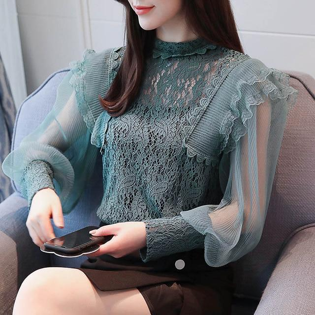 2018 Spring Women Lace Blouse Long Sleeve Fashion Blouses and Shirts Hollow Out Casual Female Clothing Plus Size 2XL T83733L-noashe