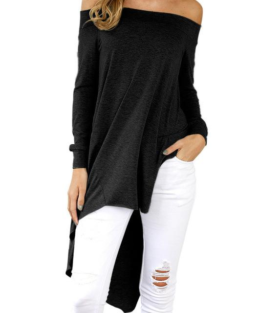 Sexy Off Shoulder Top Autumn Spring Women Blouses Slash Neck Asymmetrical Tunic Casual Loose Shirts Blusas 2018 Fashion GV1026-noashe