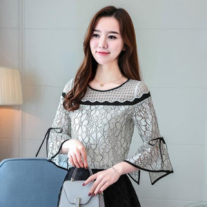 Women Lace Crochet Blouses Flare Sleeve Ladies Tops Fashion Blouses Black&White Shirts 2018 Spring Female Clothings Hots T81030A-noashe