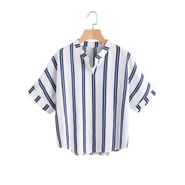 ROMWE Band Collar Navy Striped Print Casual Blouse 2018 Summer Women's Blouses Short Sleeve Casual Ladies Tops-noashe