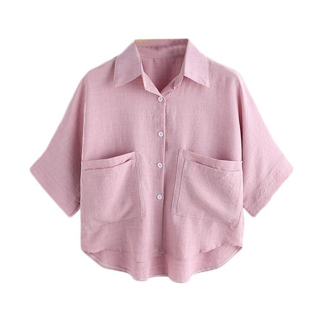 ROMWE Women Summer Blouse 2018 High Low Dual Pockets Front Shirt Ladies Pink Lapel Half Sleeve Buttons Front Casual Blouse-noashe