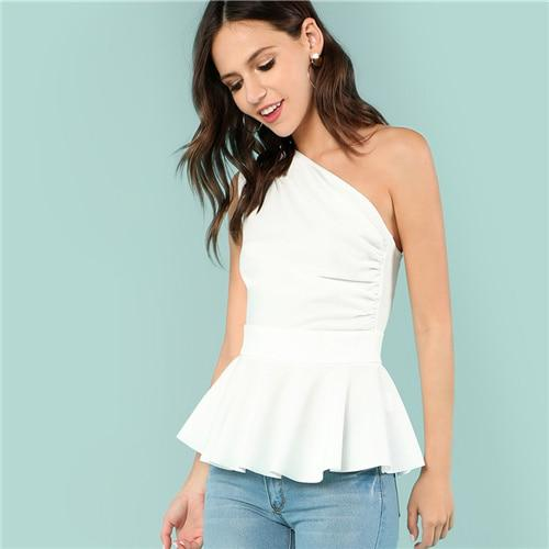 SHEIN White Party One Shoulder Peplum Ruffle Hem Ruched Sleeveless Solid Blouse Summer Women Sexy Elegant Shirt Top-noashe