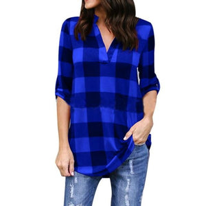 Laamei Plus Size 5XL 2018 New Spring Autumn Women Plaid Casual Loose Long Shirts Female Vintage Long Sleeve V Neck Blouse Tops-noashe