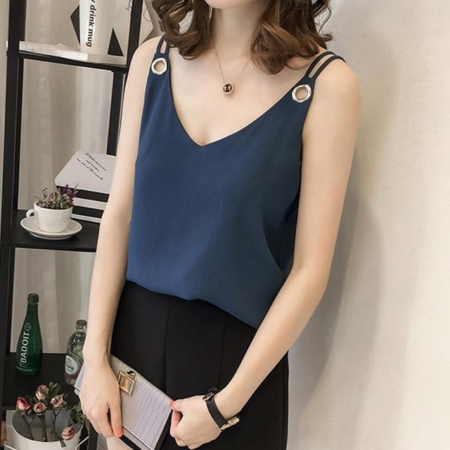 summer chiffon women blouse shirt new 2018 fashion sleeveless sexy strap women's tops solid V neck plus size clothing 0366 30-noashe